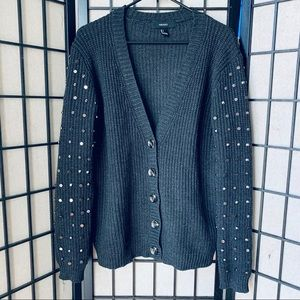 Forever 21 black studded sleeve button cardigan L